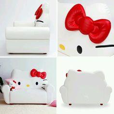 Hello Kitty white sofa. Where can i get this. Cute!
