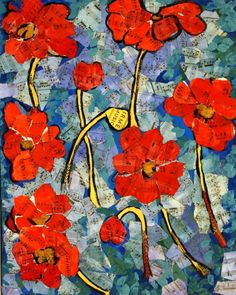 Bright and stunning flower painting depicts ember-glow coral red poppies in a garden. The background in the original painting is torn piano sheet music that has been tinted with watercolor and used as a collage element over acrylic and oil on canvas.