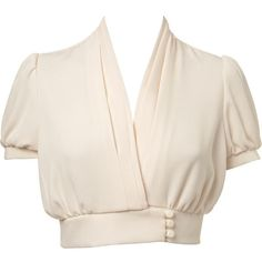 Petites Cream Crop Blouse featuring polyvore, fashion, clothing, tops, blouses, shirts, blusas, women's clothing, polyester shirt, petite tops, petite shirts, cropped blouse and pink blouse