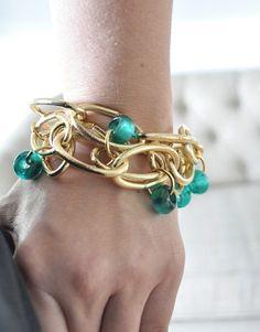 Make inexpensive jewelry using hardware store chain link and beads.... this! mamamurphy