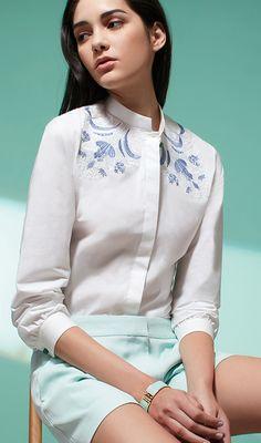 Cotton Shirt Chinese Ornaments Embroidery by Shanghai Tang<br> Collar Shirts, Shirt Blouses, Chinese Collar Shirt, Collared Shirt Outfits, Chinese Clothing, Mandarin Collar, Cute Shirts, Traditional Outfits, Shanghai Tang