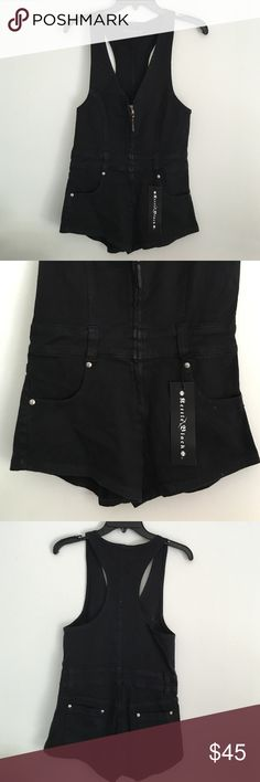 SHORT ZIP FRONT OVERALLS Women's high cut short overalls, Zipper front with belt loops & POCKETS!! NWT NEVER BEEN WORN. Fits a little small, true 25-26 & tight on a 27. SIZED AS A SMALL. ⚡️ NOT one teaspoon brand but very similar. By Kettle Black One Teaspoon Other