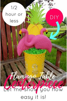 Flamingo Centerpiece- Table Decor- Party- Flamingo- DIY