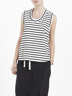 pique stripe t back tank / natural / black