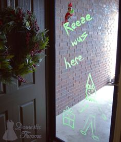 Elf used a window marker to draw a picture - Elf On The Shelf 2015 Calendar (25+ NEW Ideas!) w/ FREE Printables! #Christmas #Clothes #Costume #Day #Easy #Elves #Eve #Fast #Food #First #Funny #Girl #Good #Goodbye #Hiding #Hilarious #Holiday #Jesus #Jokes #Kid #Kindness #Lazy #Magic #Minutes #Mischief #Moms #Movie #Moving #Night #Old #Pajamas #Pet #Photos #Pictures #Planner #PJs #Pranks #Quick #Random #RAK #Reindeer #Returning #Toddlers #Tradition #Tricks #Video #Xmas #Year #Young