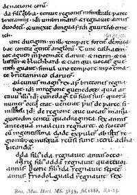 Author(s) 	anonymous Language 	Latin Date 	10th century Manuscript(s) 	British Library, Harleian MS 3859 (c. 1100-1200) Genre 	genealogical collection