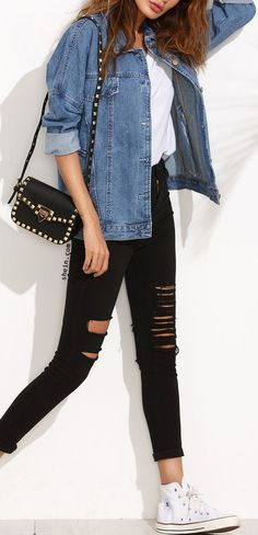 What to wear with Denim jacket? Leggings