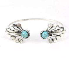 Woman's Turquoise Cuff Bracelet Silver Plated With Blue Color Stone Jewelry #Unbranded #Adjustable