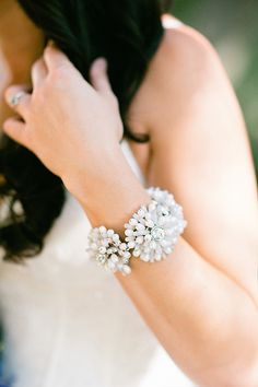 Rhinestone Flower Bracelet Bridal Jewelry | photography by http://www.christinechoi.com/blog/