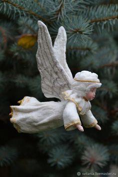 Купить или заказать Ватная елочная игрушка Ангел в интернет магазине на Ярмарке Мастеров. С доставкой по России и СНГ. Материалы: вата, клейстер, медная проволка,…. Размер: 12 см