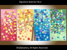 Original art Large Abstract landscape painting  by QiQiGallery