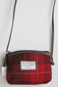 Jura Harris Tweed shoulder bag in red tartan with leather trim