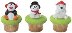Holiday Friends Cupcake Rings including a penguin, snowman and polar bear