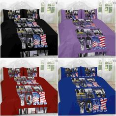 Campus Duvet Cover Set  Quilt With Pillow Case Single Double Sup King Red black