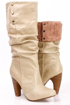 BEIGE FAUX CRINKLE LEATHER FOLD OVER STACKED KNEE HIGH HEEL BOOTS
