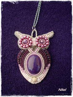 Nikol - GyöngyÉkszereim: Bagoly nyaklánc / Owl bead embroidery