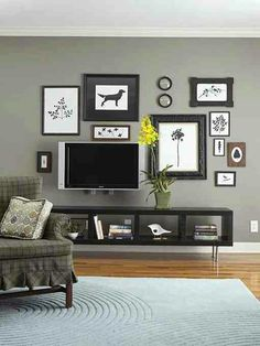 Gallery Wall w/ TV incorporated. Floating TV console/ bookshelf
