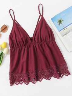 To find out about the Scallop Lace Trim Strappy Plunge Cami Top at SHEIN, part of our latest Tank Tops & Camis ready to shop online today! Halter Crop Top, Cami Crop Top, Cropped Tank Top, Camisole Top, Cami Tops, Trendy Outfits, Summer Outfits, Cute Outfits, Fashion Outfits