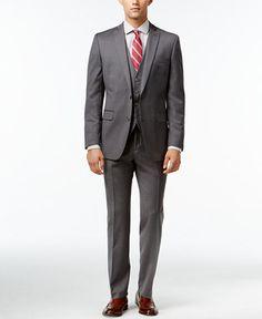 Bar III Mid-Grey Pindot Slim-Fit Suit Separates
