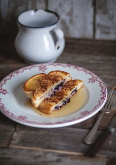 Stuffed French Toast with Blueberry, Basil and Cheddar Cheese