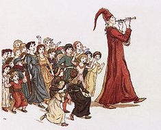The Pied Piper leads the children out of Hamelin. Illustration by Kate Greenaway to the Robert Browning version of the tale.
