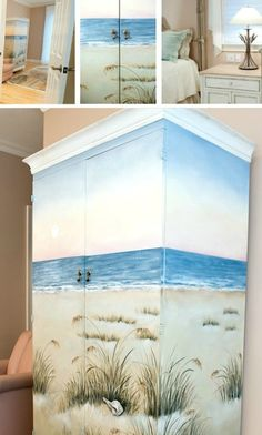 Beach Scene Painted Armoire for a Bedroom: http://beachblissliving.com/artistic-beach-bedroom-designs/