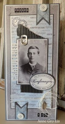 min lille scrappe-verden: Konfirmantkort til gutt Heritage Scrapbook Pages, Vintage Scrapbook, Vintage Cards, Vintage Images, Cards For Men, Confirmation Cards, Tag Photo, Masculine Cards, Layout