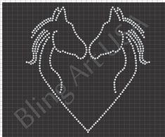 Horse Heart Rhinestone Download File Equestrian Template Equine Art Ponies SVG PLT EPS PDF Horse Heads Stencil Love Easy