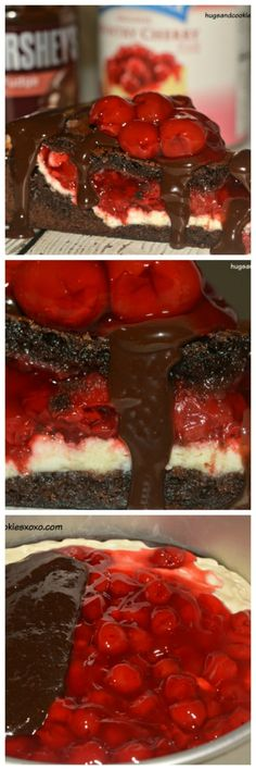 cherry brownie cake sliced