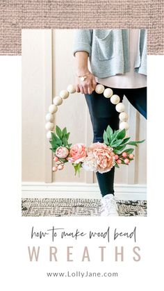 DIY Wood Bead Floral Wreath – Lolly Jane How to make wood bead wreaths with hot glue and floral wire. SO EASY! Love this easy to make wreath tutorial, so pretty! The post DIY Wood Bead Floral Wreath – Lolly Jane appeared first on DIY Crafts. Cute Crafts, Crafts To Make, Wood Wreath, Diy Décoration, Wreath Tutorial, Crafty Craft, How To Make Wreaths, Spring Crafts, Wood Crafts
