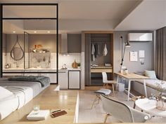 small one room apartment design ideas Small Studio Apartment Design, Studio Apartment Layout, Small Studio Apartments, Small Apartment Interior, Studio Apartment Decorating, Cozy Apartment, Apartment Interior Design, Small Apartment Layout, Apartment Living