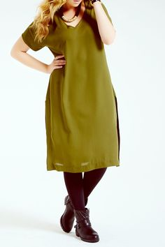 Elvi Khaki Midi Dress
