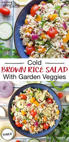 When it's too hot to cook, whip up a batch of this cold brown rice salad with refreshing vinaigrette dressing & garden veggies. without breaking a sweat! Rice Salad Recipes, Brown Rice Recipes, Healthy Salad Recipes, Whole Food Recipes, Vegetarian Recipes, Brown Rice Salad, Cold Rice Salad, Fresh Vegetables, Veggies