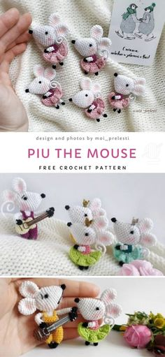 Little Mouse Free Crochet Pattern. These sweet tiny mice can be used as brooches or applique. Either way, they will look lovely and bring smile on the faces of little girls. Make a bunch of them and have fun! Crochet Animal Patterns, Stuffed Animal Patterns, Crochet Patterns Amigurumi, Crochet Animals, Crochet Dolls, Crochet Mouse, Cute Crochet, Crochet Crafts, Crochet Projects