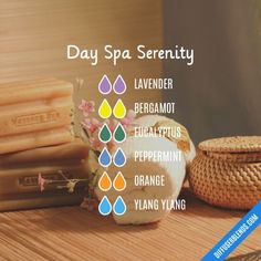 Day Spa Serenity - Essential Oil Diffuser Blend for your spa bathroom Essential Oils Guide, Doterra Essential Oils, Essential Oil Combinations, Savon Soap, Essential Oil Diffuser Blends, Diffuser Recipes, Aromatherapy Oils, Lavender, Peppermint