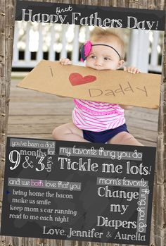 First Father's Day Card- Printable Chalkboard with Photo @Pam Manning  @Laura Johnson Ward