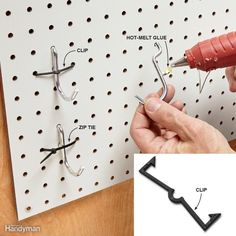 Lock In the Hooks The No. 1 complaint about pegboard? Hooks falling out when you remove a tool. Lock 'em in place. Zip ties are an inexpensive surefire way to gobut you need to have access to the back of your pegboard (or plan ahead and in Sewing Room Organization, Craft Room Storage, Tool Storage, Garage Storage, Diy Storage, Organizing Ideas, Storage Ideas, Storage Hooks, Office Storage