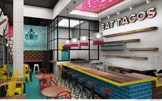 Taco Bell is launching a new fast-casual concept this Summer called U. Taco Co. and Urban Tap Room. According to the OC Register, Taco Bell's Chief Executive Greg Creed insists the restaurant. Mexican Restaurant Design, Taco Restaurant, Fast Casual Restaurant, Fast Food Restaurant, Restaurant Interior Design, Interior Shop, Restaurant Ideas, Guinness, Taco Bell