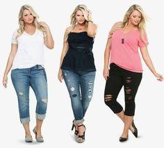 Busque a moda de calça rasgada para gordinhas para montar looks diversificados…