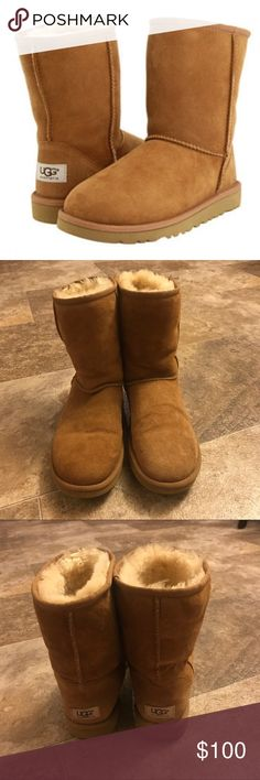 Classic Chestnut UGG Boots These boots have been worn a handful of times but are in excellent worn condition. They are still soft inside and super warm. No damage just a little floppy but when your foot is inside they fill out. Great boots. Make me an offer! (Fit more like a 9 1/2) UGG Shoes Winter & Rain Boots