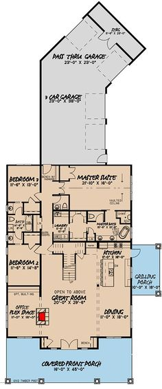 Striking Contemporary Farmhouse Plan with Sleeping Loft - floor plan - Main Level. No sleeping loft, make 1 story and enlarge pantry to include area taken up by stairs. Pole Barn House Plans, Pole Barn Homes, Shop House Plans, New House Plans, Dream House Plans, House Floor Plans, Floor Plan With Loft, House Kits, Metal Building Homes