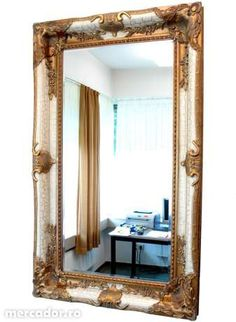 Oglinda monumentala din cristal cu rama alba cu auriu Wall Mirror, Mirrors, Oversized Mirror, Furniture, Home Decor, Crystal, Baroque Mirror, Decoration Home, Room Decor