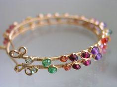 Watercolor Gemstone Hoops Colorful Earrings Wire por bellajewelsII