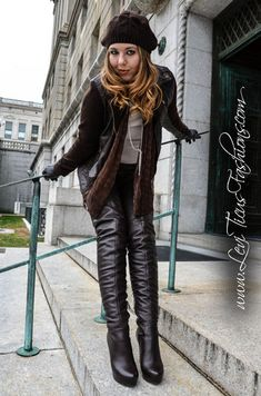 """""""Get on your hands & knees at my feet Mark Shavick! Modeling my High-Rize leather thigh boots and coordinating fashions. Thigh Length Boots, Thigh High Boots, High Heel Boots, Over The Knee Boots, Sexy Boots, Cool Boots, Black Boots, Leather Fashion, Fashion Boots"""