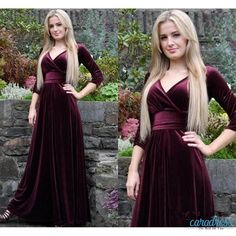 Find More Evening Dresses Information about 2017 New Velvet  V neck Prom Dresses with  Sleeves Ruched Belt Vestidos De Fiesta New Fashion Formal Evening Party Gowns,High Quality dress hats for church,China gown pajamas Suppliers, Cheap gown lingerie from only true love topseller Store on Aliexpress.com