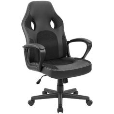 Furmax Office Chair Desk Leather Gaming Chair, High Back Ergonomic Adjustable Racing Chair,Task Swivel Executive Computer Chair Headrest and Lumbar Support (Black) Office Gaming Chair, Cool Office Desk, High Back Office Chair, Gaming Setup, Ergonomic Office Chair, Adjustable Desk, French Chairs, Good And Cheap, Diy Chair