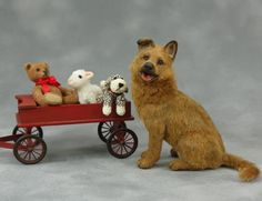 CDHM Artisan Paizley Pawz Miniature Animals, dollhouse miniature animals from plastic and wooden models Shepherd Mix Dog, Mini Dogs, Minis, Realistic Dolls, Animal Crackers, Sheep Wool, Felt Art, Ooak Dolls, Felt Animals