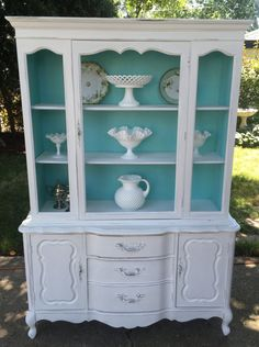 Beautiful Vintage Shabby Chic China Cabinet/Cottage style/storage/display cabinet/hand painted