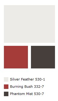 exterior paint idea, except the dark brown should be more chocolate (to match the roof) and the grey should be richer and less white.