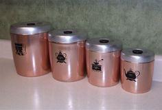 vintage alluinum cansiters | ... Vintage Kitchen / Vintage Canister Set / Copper Canisters / Aluminum